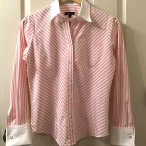 Burberry London Striped Blouse w/French Cuffs - S